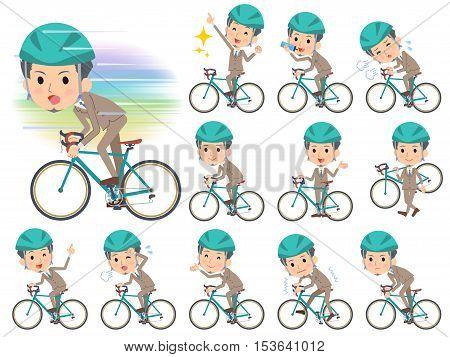 Beige Suit Short Hair Beard Man On Rode Bicycle