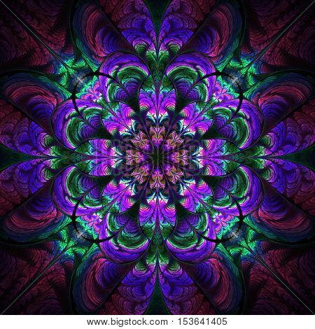 Abstract flower ornament on black background. Symmetric fractal pattern in blue purple and green colors. Stylish vintage design for wallpapers or textile. Digital art.