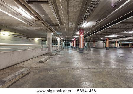 parking garage interior industrial building Empty underground background