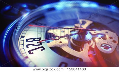 Business Concept: B2C - Business To Consumer Phrase. on Vintage Watch Face with Close View of Watch Mechanism. Time Concept with Selective Focus and Vintage Effect. 3D Illustration.
