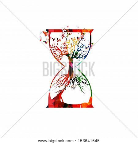 Colorful tree inside hourglass vector illustration. Design for ecology awareness, eco sustainability, plants preservation, nature protection, saving biodiversity, environmentally friendly concept