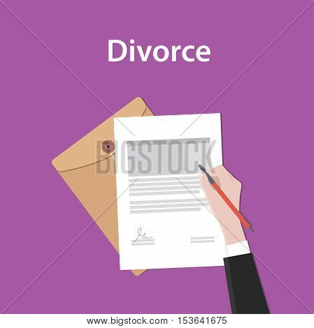 divorce illustration concept a business man hand signing a paper document with flat style vector