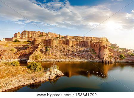 Mehrangarh Fort Jodhpur Rajasthan India Asia Landmark
