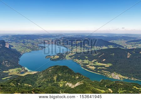 View of Alps mountain with Mondsee lake from Schafberg mountain Austria