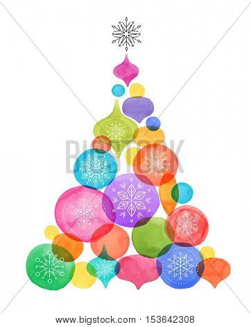 Christmas backgound with Christmas tree, watercolor vibrant colors Christmas decoration, Merry Christmas Sale poster
