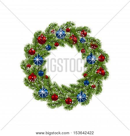 Christmas wreath. Green fir branches with red and blue balls on white background. Christmas decorations. Vector illustration