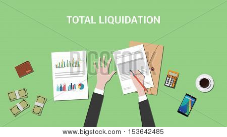 total liquidation concept illustration with business man working on a paper work document and signing a graph and chart vector