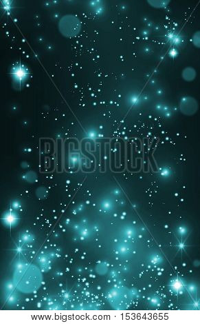 Blue glitter background. Glint, sparkles background. Party VIP invitation. Blue stardust texture. Sparkles, star dust background. Fairy tale background. Starburst, twinkle backdrop.