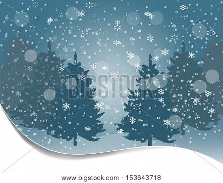 Holiday card. Silhouettes of fur-trees on a background of snow. Winter landscape. Vector illustration