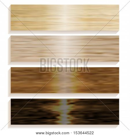 Set the boards of various wood. Laminated flooring. Wooden background. Wood texture. vector illustration
