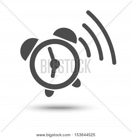 Ringing alarm clock icon isolated on white