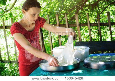 The woman artisan cheese making rural craft