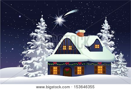 Christmas background with decorated house - vector illustration