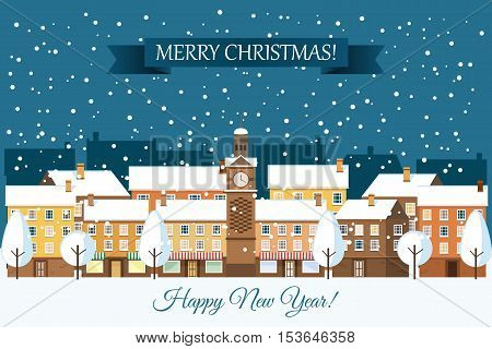 Winter town snowy street. Urban winter landscape. Christmas card Happy Holidays banner. Vector illustration flat design.