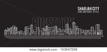 Cityscape Building Line art Vector Illustration design - Sharjah city