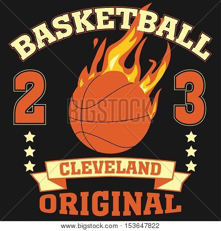 Cleveland Ohio sport typography t-shirt basketball burning ball champion college team - vector