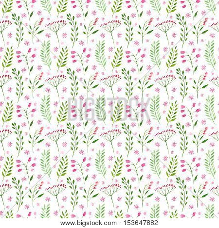 Floral seamless pattern.Green branches and pink bluebells.Watercolor hand drawn illustration.Pattern for fabric, paper and other printing and web projects.