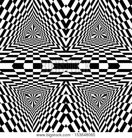 Vector Illustration. Seamless Triangle Abyss. Black and White Rectangles Expanding from the Center. Optical Illusion of Volume and Depth. Suitable for Web Design.