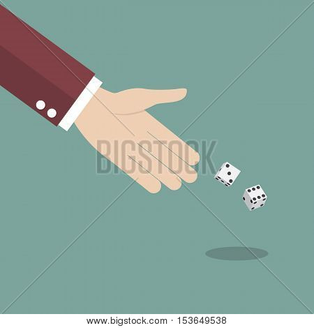 Businessman throwing dice. Gambling and business risk concept