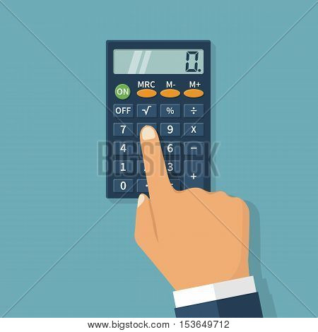 Calculation concept icon. Hand with a calculator. Businessman accountant . Flat design Vector Illustration. Isolated on background.
