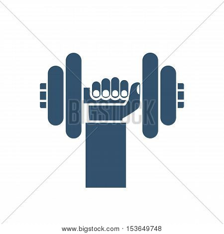 Bumbbells in hands icon. Hand of man holding a dumbbell silhouette. Vector illustration of a flat design. Weight lifting train hard concept. Sports lifestyle.
