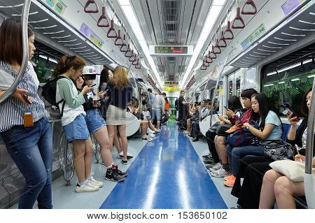 SEOUL, SOUTH KOREA 20:Passengers on the train in Seoul on May 20,2016 at Seoul, South Korea.