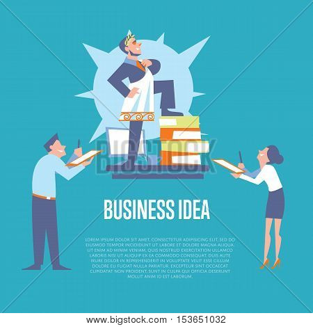 Big boss in roman toga and laurel wreath standing on office table before subordinate workers. Business idea banner, isolated vector illustration on blue background. Teamwork concept. Startup idea