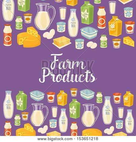 Farm products banner with different dairy icons, isolated vector illustration. Nutritious and healthy products. Organic farming. Natural and healthy food. Perpl dairy background