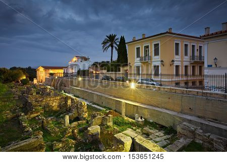 ATHENS, GREECE - OCTOBER 27, 2016: Remains of the ancient Athens under Acropolis on October 27, 2016.