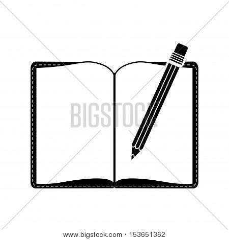 pencil with eraser and blank book icon image vector illustration design