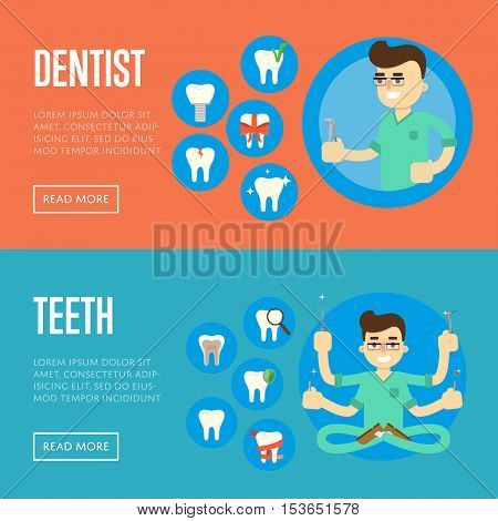 Male dentist in medical uniform with many hands holding instruments and sitting in lotus posture. Smiling dentist holding dental pliers. Dental office vector illustrations with round teeth icons.
