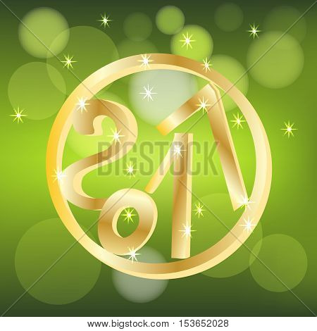 With the new 2017 with bokeh and lens flare pattern lens on bright festive backgroundat vector illustration poster