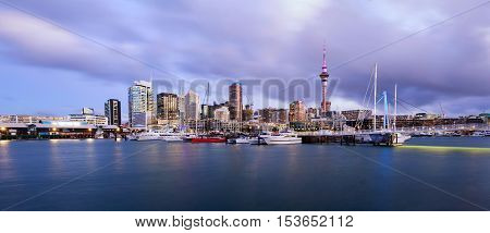 Panoramic view of Auckland city skyline from marina.