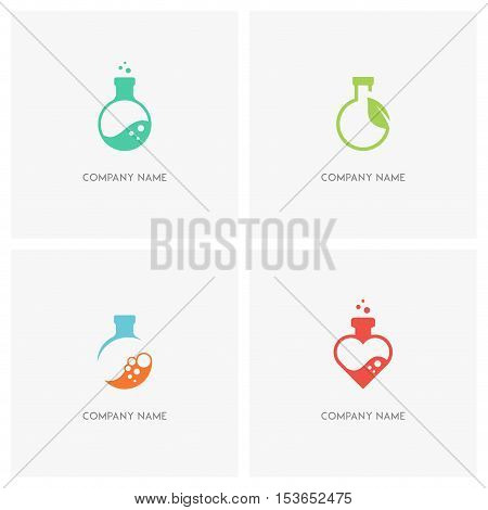 Laboratory test tube vector logo set. Lab bottle with bubbles, fresh green sprout with leaf and heart symbol - science, chemistry, ecology and love icons.