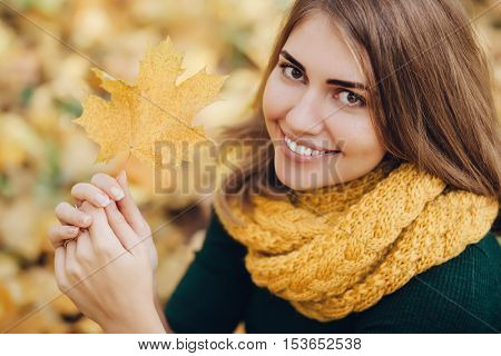 Pretty woman in a yellow knit scarf holding a maple leaf and looking at the camera.