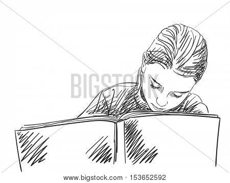 Sketch of schoolgirl doing homework  Hand drawn vector illustration