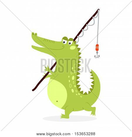 Cute cartoon crocodile character green zoo animal. Happy predator going fishing, crocodile character mascot comic color vector icon.
