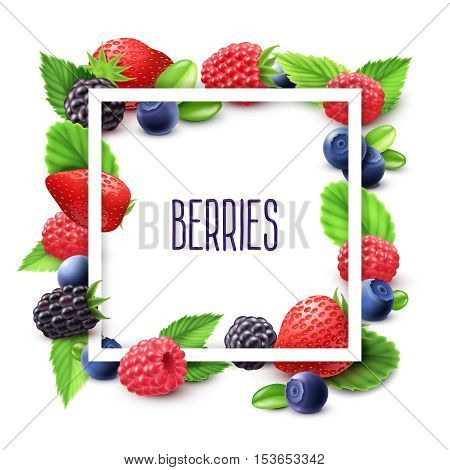 Berries and frame realistic set with blueberry strawberry and blackberry vector illustration
