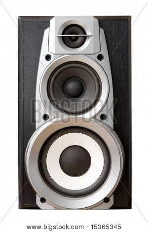 Loud speaker front view. Isolated on white.