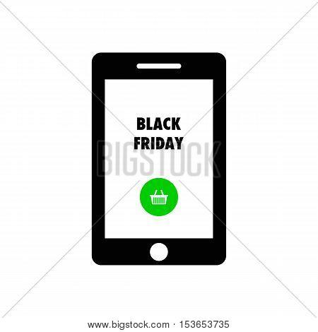 Smart phone shows text Black Friday.  Black Friday vector illustration.