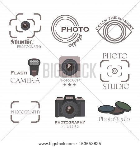 Photographer Logo Templates Set. Vector Design Element Vintage Style for Logotype, Label, Badge, Emblem. Photography Logo, Photo Camera Logo, Photo Studio Logo, Photo Camera Icon, Logo Vector.