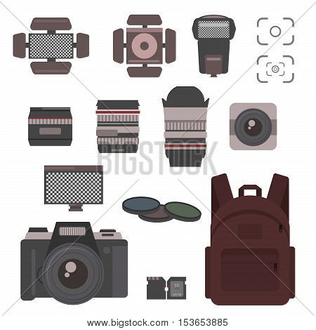Photographer kit camera elements vector set. Photo camera flash professional technology photography icon equipment film sign. lens. Photography icon studio camera focus photographer symbols.