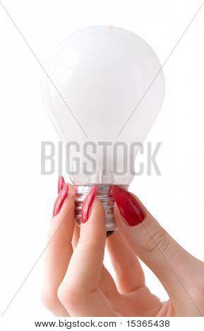 Bulb and beautiful woman hand.