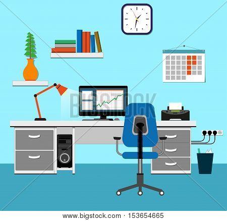 Illustration of office for work design concept