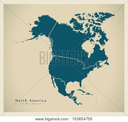 Modern Map - North America Map With Countries Complete