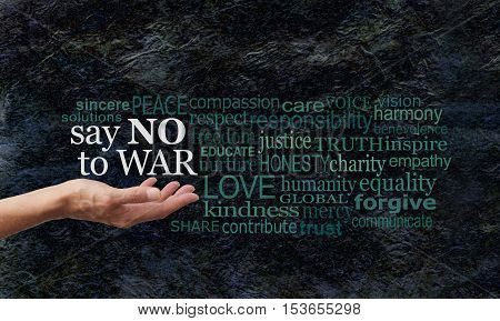 Say NO to WAR word cloud campaign banner - female hand palm up with white words Say NO to WAR floating above surrounded by a relevant word cloud on a black rough rock effect background