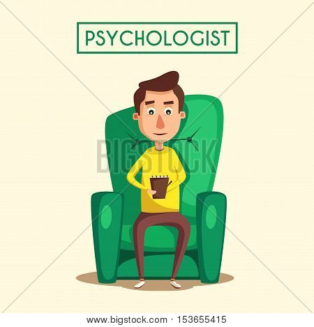 Patient talking to psychologist. Cartoon vector illustration. Psychotherapy counseling. Psychology cabinet with sofa. Male character holding notepad