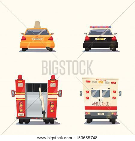 Police, Taxi, Ambulance car and Fire truck. Vector cartoon illustration. Isolated background. Service. Back view. Modern auto. Yellow cab. Security and justice. Healthcare theme Save life