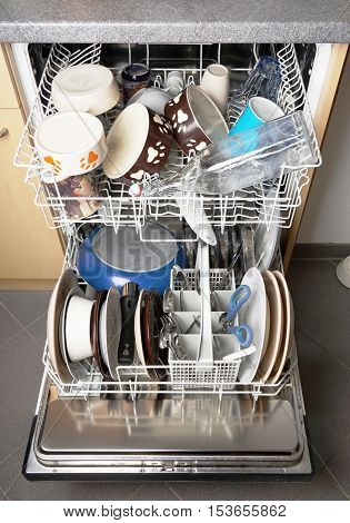 automatic dishwasher machine filled with clean dishes
