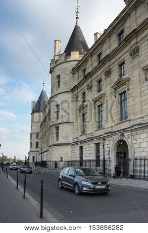 PARIS FRANCE - OCTOBER 11 2015: The Conciergerie is a building in Paris France located on the west of the Island of the City formerly a prison but presently used mostly for law courts